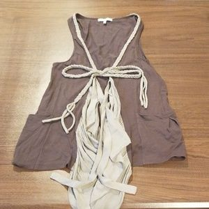 Mystree Coverup Vest with Braided Tassels size S